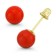 3-8mm Orange Coral Ball Studs 14k 14kt Yellow Gold Screwback-Bell Stud Earrings - ES018-CR_Orange-SB-14Y