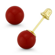 3-8mm Red Coral Ball Studs Screwback-Bell Stud Earrings in 14k 14kt Yellow Gold - ES018-CR_Red-SB-14Y