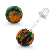 Fiery Black Synthetic Opal Round Ball Screwback Stud Earrings in 14k White Gold - ES018-OP_Black4-SB-14W