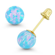 Fiery Azure Blue Synthetic Opal Ball Screwback Stud Earrings in 14k Yellow Gold - ES018-OP_Blue1-SB-14Y