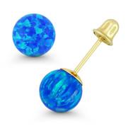 Fiery Pacific Blue Synthetic Opal 14k Yellow Gold Screwback Ball Stud Earrings - ES018-OP_Blue2-SB-14Y