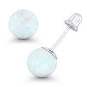 Fiery White Synthetic Opal Round Ball Screwback Stud Earrings in 14k White Gold - ES018-OP_White1-SB-14W