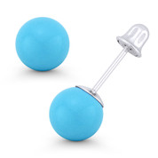 3mm to 8mm Blue Turquoise Ball Studs 14k 14kt White Gold Screwback Stud Earrings - ES018-TQ_Blue-SB-14W