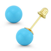 3to8mm Blue Turquoise Ball 14kt Studs Screwback Stud Earrings in 14k Yellow Gold - ES018-TQ_Blue-SB-14Y