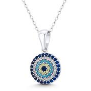 Evil Eye Luck Charm CZ & Nano Crystal Pendant in .925 Sterling Silver w/ Rhodium - EYESP121-MultiCZ-SLW