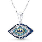 Evil Eye Luck Charm CZ & Nano Crystal Pendant in .925 Sterling Silver w/ Rhodium - EYESP122-MultiCZ-SLW