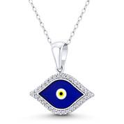 Evil Eye Luck Charm CZ Crystal & Enamel Pendant in .925 Sterling Silver w/ Rhodium - EYESP123-DiaCZ-SLW