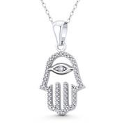 Hamsa Hand Evil Eye Luck Charm CZ Crystal Pendant in .925 Sterling Silver w/ Rhodium - EYESP125-DiaCZ-SLW