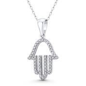 Hamsa Hand Evil Eye Luck Charm CZ Crystal Pendant in .925 Sterling Silver w/ Rhodium - EYESP126-DiaCZ-SLW