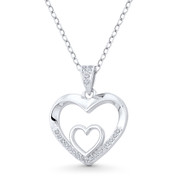 Double-Heart CZ Crystal Accent Pendant in .925 Sterling Silver w/ Rhodium - GN-HP020-DiaCZ-SLW