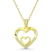 Double-Heart CZ Crystal Love Charm .925 Sterling Silver 14k GP Necklace Pendant - GN-HP020-DiaCZ-SLY