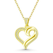Heart CZ Crystal Accent Pendant in .925 Sterling Silver w/ 14k Yellow Gold - GN-HP021-DiaCZ-SLY