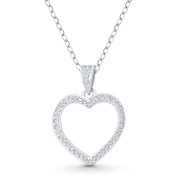 Heart CZ Crystal Accent Pendant in .925 Sterling Silver w/ Rhodium - GN-HP022-DiaCZ-SLW