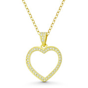 Heart CZ Crystal Accent Pendant in .925 Sterling Silver w/ 14k Yellow Gold - GN-HP022-DiaCZ-SLY