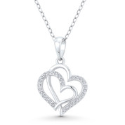Double-Heart CZ Crystal Accent Pendant in .925 Sterling Silver w/ Rhodium - GN-HP023-DiaCZ-SLW