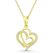 Double-Heart CZ Crystal Accent Pendant in .925 Sterling Silver w/ 14k Yellow Gold - GN-HP023-DiaCZ-SLY