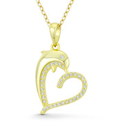 Heart & Dolphin CZ Crystal Accent Pendant in .925 Sterling Silver w/ 14k Yellow Gold - GN-HP024-DiaCZ-SLY