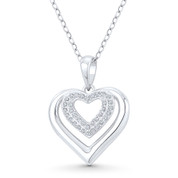 Double-Heart CZ Crystal Accent Pendant in .925 Sterling Silver w/ Rhodium - GN-HP025-DiaCZ-SLW