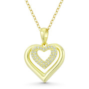 Double-Heart CZ Crystal Accent Pendant in .925 Sterling Silver w/ 14k Yellow Gold - GN-HP025-DiaCZ-SLY