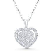 Double-Heart CZ Crystal Accent Pendant in .925 Sterling Silver w/ Rhodium - GN-HP026-DiaCZ-SLW