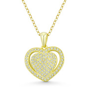 Double-Heart CZ Crystal Accent Pendant in .925 Sterling Silver w/ 14k Yellow Gold - GN-HP026-DiaCZ-SLY