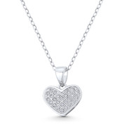 Heart CZ Crystal Pave Pendant in .925 Sterling Silver w/ Rhodium - GN-HP027-DiaCZ-SLW