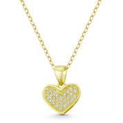 Heart CZ Crystal Pave Pendant in .925 Sterling Silver w/ 14k Yellow Gold - GN-HP027-DiaCZ-SLY