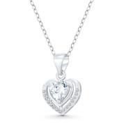 Heart CZ Crystal Halo Pendant in .925 Sterling Silver w/ Rhodium - GN-HP028-DiaCZ-SLW