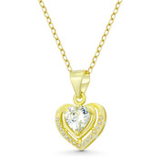 Heart CZ Crystal Halo Pendant in .925 Sterling Silver w/ 14k Yellow Gold - GN-HP028-DiaCZ-SLY