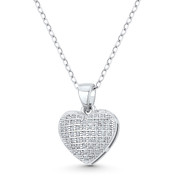 Bubble Heart CZ Crystal Pave 17x12mm Pendant in .925 Sterling Silver w/ Rhodium - GN-HP029-DiaCZ-SLW