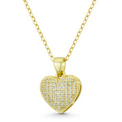 Bubble Heart CZ Crystal Pave 17x12mm Pendant in .925 Sterling Silver w/ 14k Yellow Gold - GN-HP029-DiaCZ-SLY