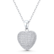 Bubble Heart CZ Crystal Pave 20x14mm Pendant in .925 Sterling Silver w/ Rhodium - GN-HP030-DiaCZ-SLW