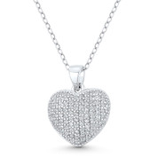 Bubble Heart CZ Crystal Pave 19x15mm Pendant in .925 Sterling Silver w/ Rhodium - GN-HP031-DiaCZ-SLW