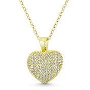 Bubble Heart CZ Crystal Pave 19x15mm Pendant in .925 Sterling Silver w/ 14k Yellow Gold - GN-HP031-DiaCZ-SLY