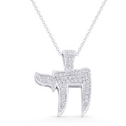 """Chai"" Symbol CZ Crystal Pave Jewish Pendant in .925 Sterling Silver w/ Rhodium - GN-JC001-SLW"