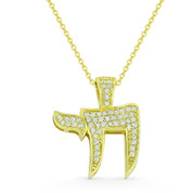 """Chai"" Symbol CZ Crystal Pave Jewish Pendant in .925 Sterling Silver w/ 14k Yellow Gold - GN-JC001-SLY"