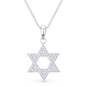 Star of David CZ Crystal Pave Pendant in .925 Sterling Silver w/ Rhodium - GN-JS001-SLW
