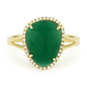 2.74ct Fancy Checkerboard Green Agate & Round Cut Diamond Halo Right-Hand Ring in 14k Yellow Gold