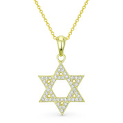 Star of David CZ Crystal Pave Pendant in .925 Sterling Silver w/ 14k Yellow Gold - GN-JS001-SLY