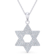 Star of David CZ Crystal Pave Pendant in .925 Sterling Silver w/ Rhodium - GN-JS002-SLW