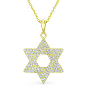 Star of David CZ Crystal Pave Pendant in .925 Sterling Silver w/ 14k Yellow Gold - GN-JS002-SLY