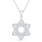 Star of David CZ Crystal Pave Pendant in .925 Sterling Silver w/ Rhodium - GN-JS003-SLW