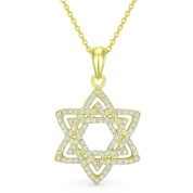Star of David CZ Crystal Pave Pendant in .925 Sterling Silver w/ 14k Yellow Gold - GN-JS003-SLY
