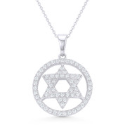 Star of David CZ Crystal Pave Pendant in .925 Sterling Silver w/ Rhodium - GN-JS004-SLW