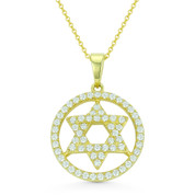 Star of David CZ Crystal Pave Pendant in .925 Sterling Silver w/ 14k Yellow Gold - GN-JS004-SLY