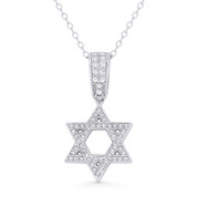 Star of David CZ Crystal Pave Pendant in .925 Sterling Silver w/ Rhodium - GN-JS005-SLW