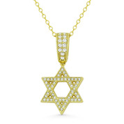 Star of David CZ Crystal Pave Pendant in .925 Sterling Silver w/ 14k Yellow Gold - GN-JS005-SLY