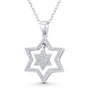 Double Star of David CZ Crystal Pave Pendant in .925 Sterling Silver w/ Rhodium - GN-JS006-SLW