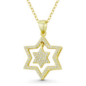 Double Star of David CZ Crystal Pave Pendant in .925 Sterling Silver w/ 14k Yellow Gold - GN-JS006-SLY