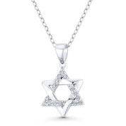 Star of David CZ Crystal Accent Pendant in .925 Sterling Silver w/ Rhodium - GN-JS007-SLW